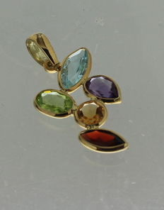 14kt yellow gold pendant, with multicoloured stones
