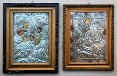 Two Greek Antique Tin Covered Litho Icons, Nativity and Saint George, Late 19th Century