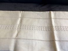 Never used - Top sheet for double bed - cotton-linen mix - traditional - France - Early 1900s
