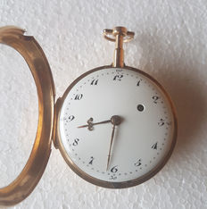 Switzerland around 1770 - gold  Oignon spindle, pocket watch - striking mechanism (repetition) on bell