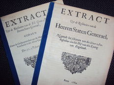Lot with 2 extracts of the resolutions of the Dutch States General - 1684