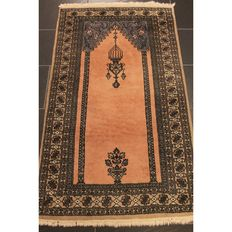 An old Persian carpet, Art Deco Belutsch Afghan Buchara prayer carpet 1970, top, 150 x 80 cm, Tappeto rug carpet Tapis Tapijt