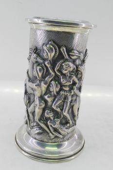 Silver candlestick with relief