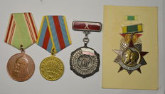Russia, Poland, Latvia - 4 Medals - 800 years of Moscow 1147-1947, Liberation of Warsaw 1945, 10th anniversary of the Polish people, Latvian 130th rifle battalion veteran