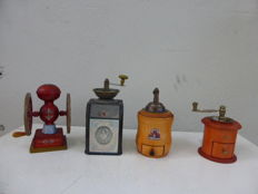 Four miniature coffee grinders made in wood and metal. Original, France, second half of the 20th c.
