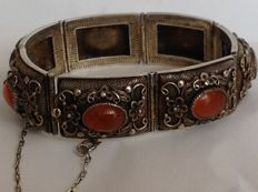 China - Antique bracelet in filigree silver and carnelian - Early 20th century