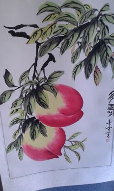 Hand-painted scroll with decoration of peaches – China – 2nd half of the 20th century