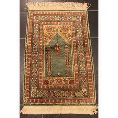 Beautiful handwoven Oriental carpet Kayseri prayer rug. Carpet made in Turkey circa 1930 silk / thread 100x60cm Tappeto Tapis Carpet