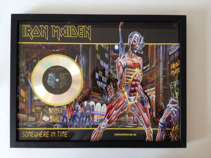 "Iron Maiden Platinum Plated CD  Display "" Somewhere In Time """