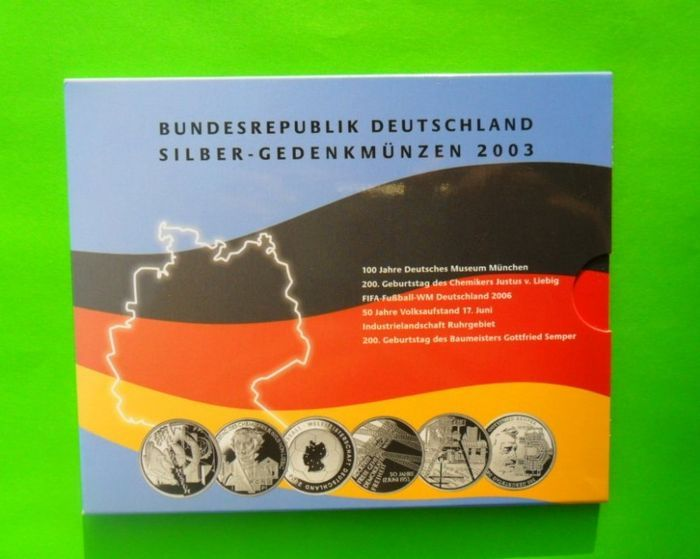 Germany - 10 Euro 2003 'Commemorative Coins' (6 pieces) in set - silver