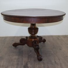 Charles X, mahogany drum round table - France - first half of the 19th century