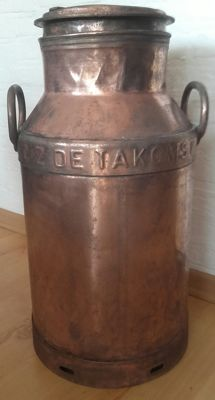 Old copper-plated milk churn - first half of 20th century - The Netherlands