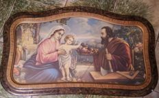 """Headboard with ancient print of the """"Holy Family"""", late 1950s"""
