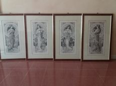 4 watercoloured china ink drawings, with female figures and flowers, Art Nouveau period - Bliggen