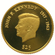 "Liberia – 25 dollars 2000 ""John F. Kennedy"" – 1/20 oz of gold."