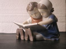"Bing & Grondahl- figurine Number 1567 ""Boy and Girl Reading"""