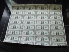 US - 1 dollar 1981, complete and uncut sheet of 32 bills