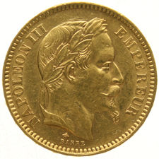 France – 20 Francs 1863A Napoleon III – gold