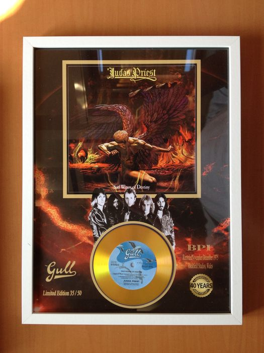 "Judas Priest Gold Plated CD  Display "" Sad Wings Of Destiny """