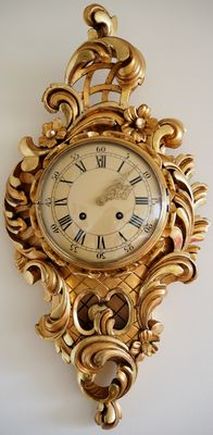 Large Swedish Westerstrand gilt hand carved wood wall clock - Early 1900s