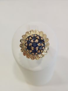 Yellow gold ring (750) with 19 natural sapphires, approx. 0.60 ct  - size: 11.5 mm