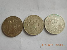 The Netherlands - 1 guilder 1892, 1929 and 1944 Wilhelmina - Silver