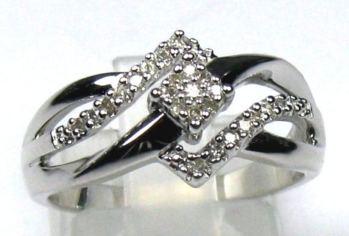 0.15ct. Diamond ring – 925 silver – size 54 – 17.2mm
