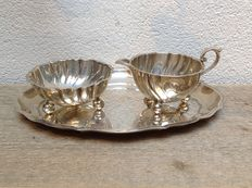 Silver cream- and sugar set on tray, Wilkens & Söhne, Bremen (Germany), ca. 1930
