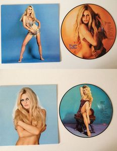 """Brigitte Bardot Lot Of Two Picture Disc LP's;  10"""" Picture Disc """"Je T' Aime""""  &  12"""" """"The Best Of Bardot""""  In Full Colour Sleeves !!"""