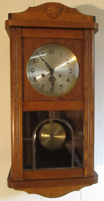 Hermle FHS regulator oak wall clock, around 1950