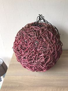 Large hand braided hang lamp.