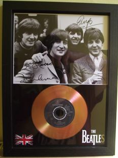 The Beatles, signed( printed facsimile signatures )framed photo and gold record effect CD disc presentation.for their song; 'Help'. Parlophone Record label.