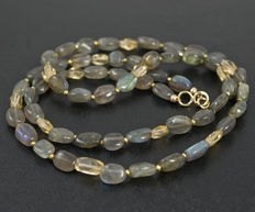 Long labradorite necklace with citrine, 18 kt gold clasp, 58 cm length