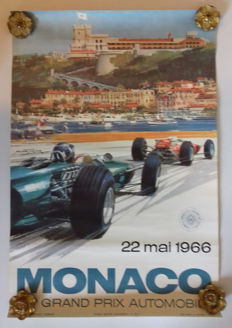 Large poster of the Grand Prix Automobile of Monaco - 1966