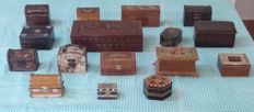 Lot 16  wooden, beautiful boxes handmade, with bronze,  leather  and iron inserts.