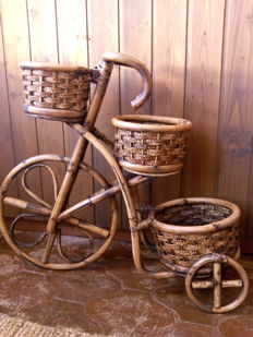 Spanish rattan cane flowerpot stand for bicycle. 20th century