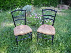 Pair of chairs in blackened wood - France - Napoleon III - ca. 1870