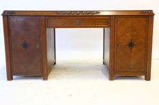 Beautiful oak Art Deco desk with floral carving