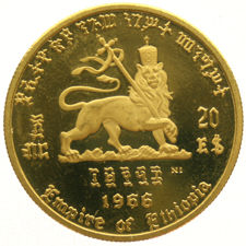 "Ethiopia - 20 Dollars 1966 ""75th Anniversary of Birth & 50th Jubilee of Reign"" - gold"