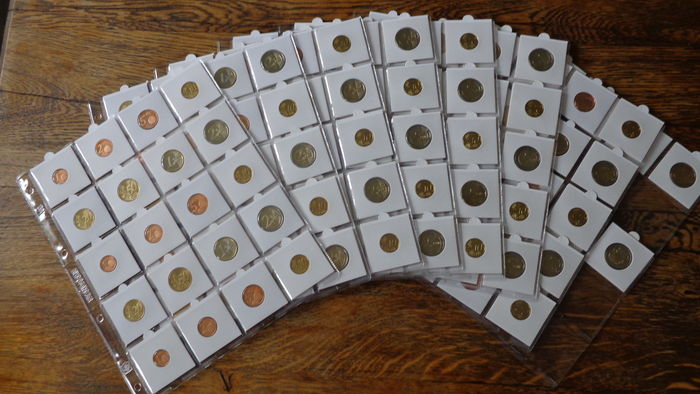 The Netherlands – 1 cent through 2 Euro coins 1999/2016 (8 regular coins per year), complete + special, commemorative 2 Euro coins (6 pieces)