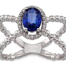 18 kt / 750 white gold ring with diamonds and sapphire, ring, size 15/55