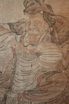 """Scroll painting """" Old man with crane, deer and turtle """" - Japan - late 17th century"""