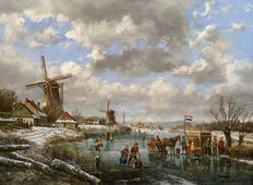 Albertus J. Temming (1942-) - Dutch winter landscape on the river with horse, mill and refreshment stand.