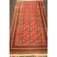 Beautiful Art Deco Jomut Bukhara USSR oriental carpet, wool on wool around 1930, made in USSR, 180 x 97 cm