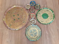 Venetian round trays with coasters
