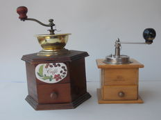 Pair of old coffee mills from the 1900s, cherry wood