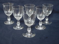 Baccarat 6 cut crystal wine glasses - late 19th early 20th century