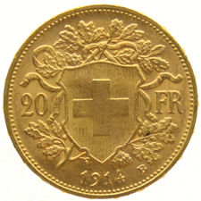 "Switzerland – 20 francs ""Vreneli"" 1914B – Gold"