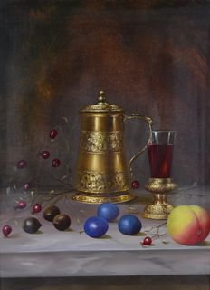 Unknown. (20th century) - A still life of gold tankard, wine glass and fruits.