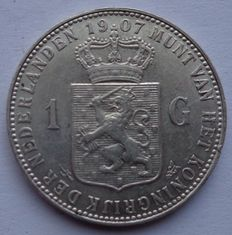 The Netherlands – 1 guilder 1907 Wilhelmina – silver